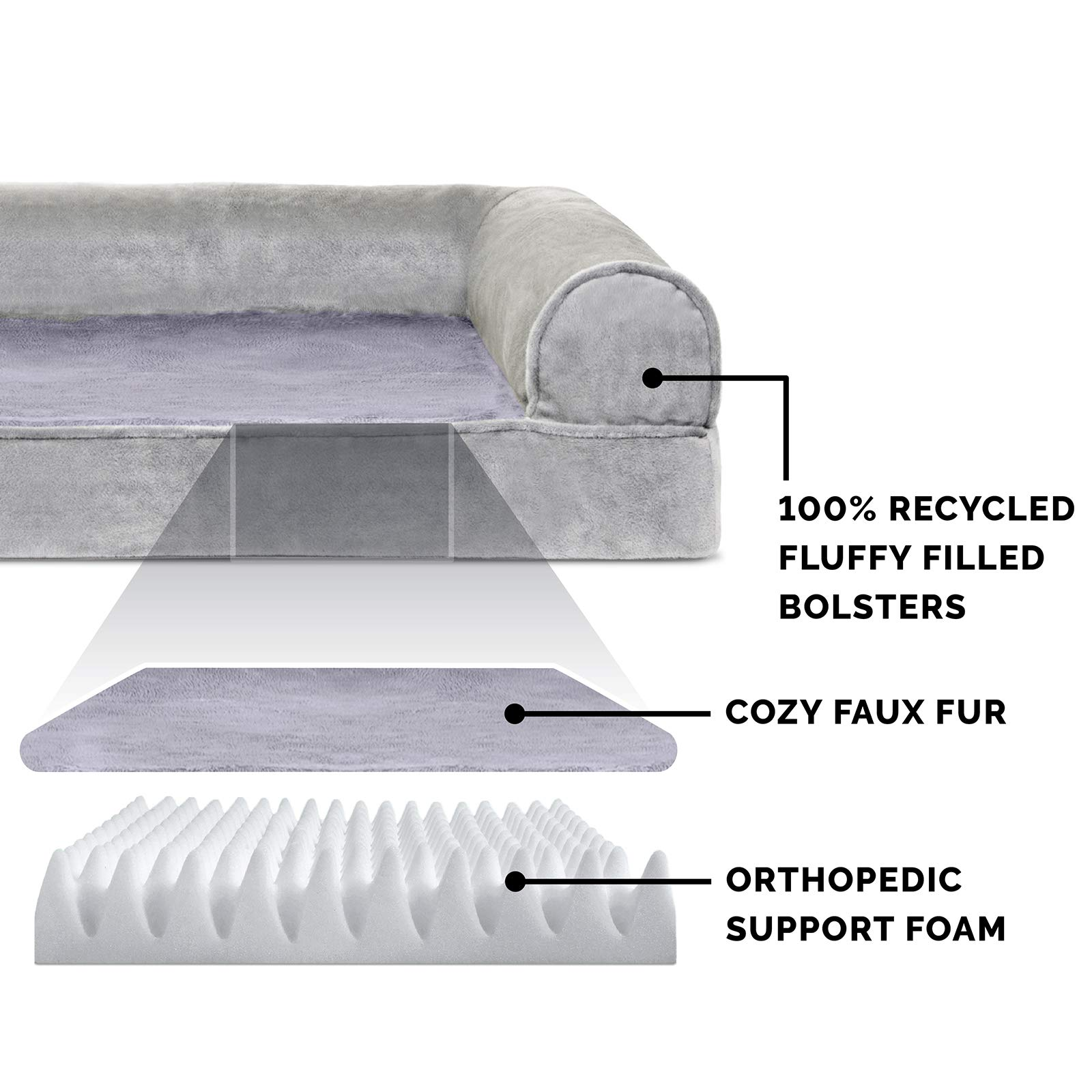 FurHaven Pet Dog Bed | Orthopedic Faux Fur & Velvet Sofa-Style Couch Pet Bed for Dogs & Cats, Smoke Gray, Jumbo by Furhaven Pet (Image #4)