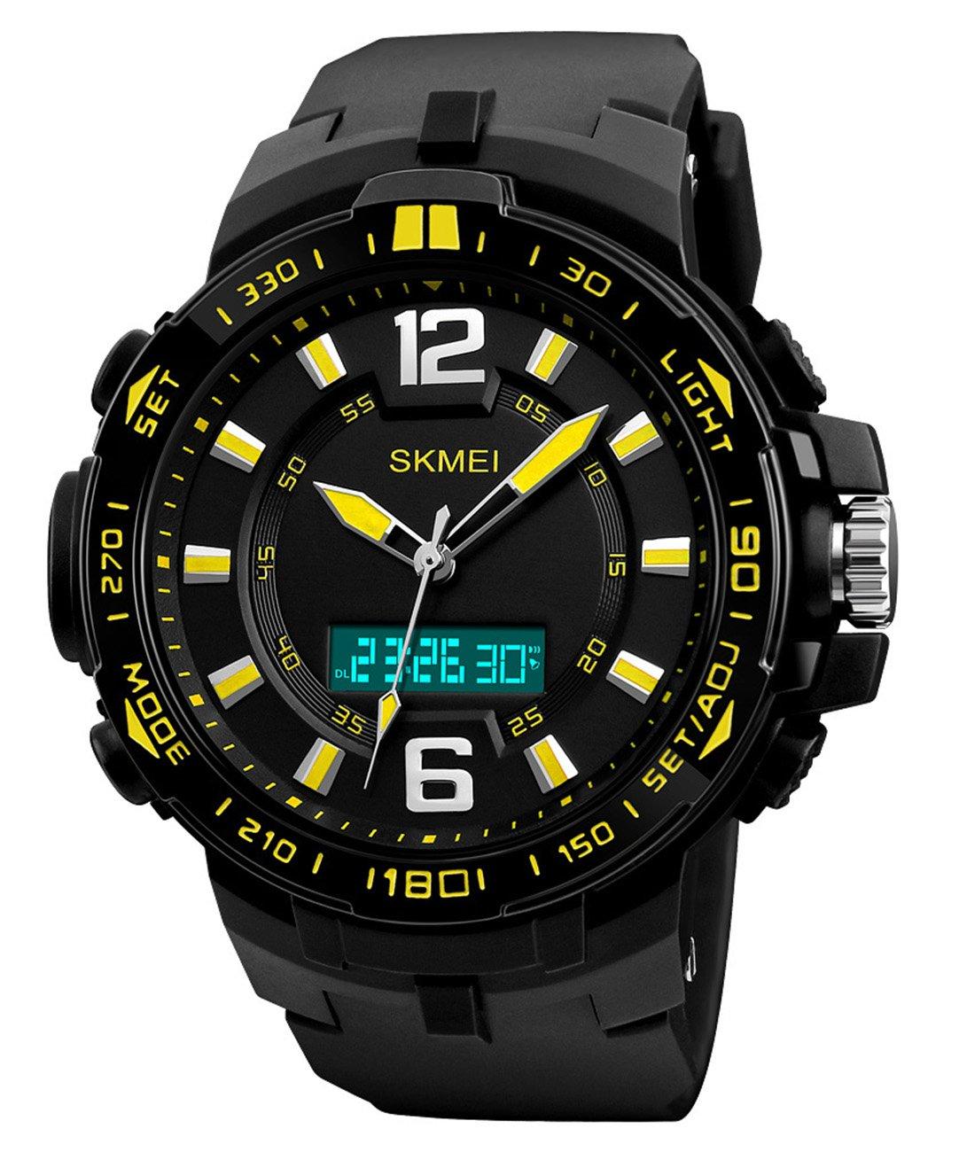 ファッションメンズスポーツLEDデジタル二重時間クロノグラフアラーム日付防水多機能クォーツ時計 イエロー B077LLC3PK イエロー イエロー