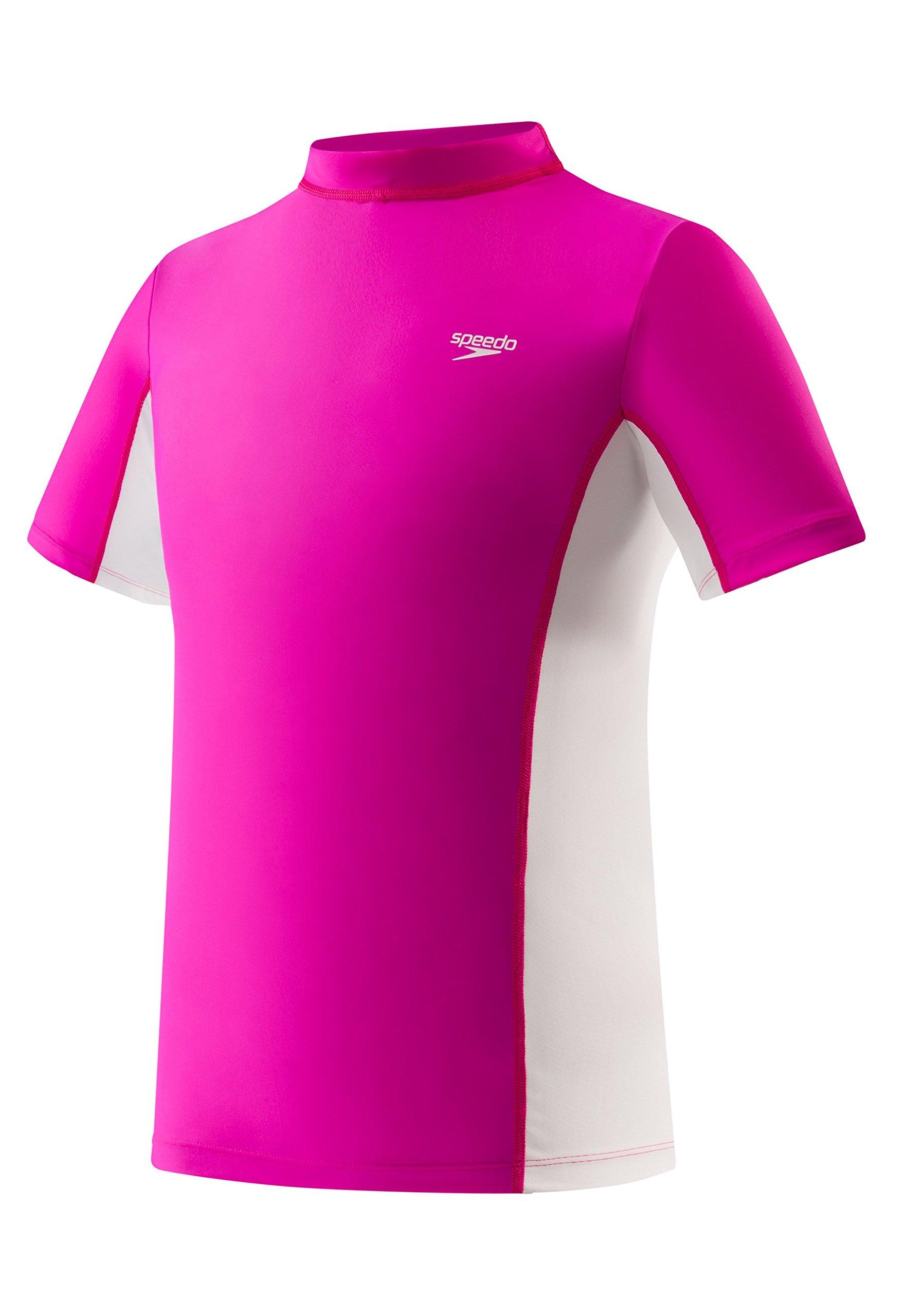 Speedo Big Girls' UV 50+ Short Sleeve Rashguard, New Blush, X-Large by Speedo