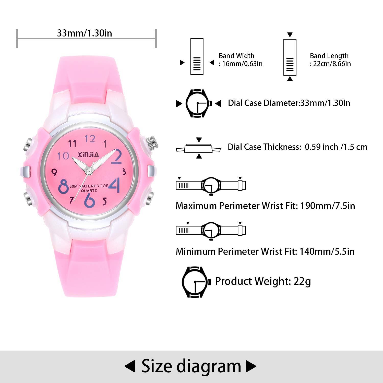 Relojes Analógicos para Niños, Niñas Impermeable Fácil de Leer Relojes de Pulsera con Correa Suave para Niños (Rosa): Amazon.es: Relojes