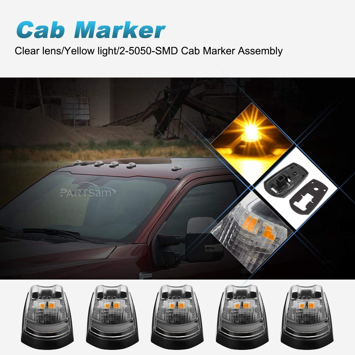 Partsam Clear Lens Cab Marker Top Roof Running Lights Amber Lamps LED Light Assembly Compatible with Ford F-250 F-350 F-450 F-550 2017 2018 Super Duty 264343CL Cab Light