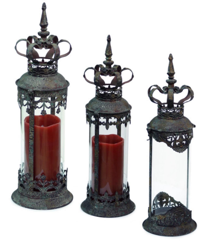 Set of 3 Renaissance Style Distressed Crown Top Cylinder Pillar Candle Lanterns