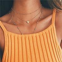 Koedu Women's Necklace Choker Mehrr Row Chain Collar Necklace