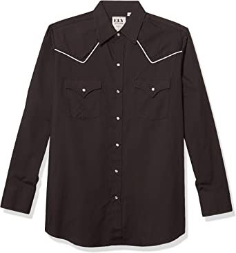 ELY CATTLEMAN Mens Short Sleeve Solid Western Shirt with Contrast Piping