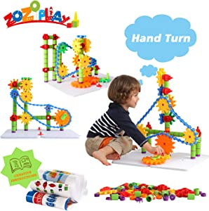 ZoZoplay STEM Toys Gears Building Set, 170 Pieces Learning Blocks, Spinning Gears Interlocking Chain, Connector Pieces and 2 Pegboards, for Boys and Girls Ages 3 4 5 6 Years Old