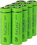 Akku Batterien AA / Mignon / HR6, NiMH, wiederaufladbar, 1,2 Volt (1,2V), Hi-Power Kapazität 2600mAh, ReCyko+ LSD Technologie, Ready-to-Use - Akkus bereits vorgeladen, sofort nutzbar (8 Stück Akkubatterien GP Batteries Markenware)