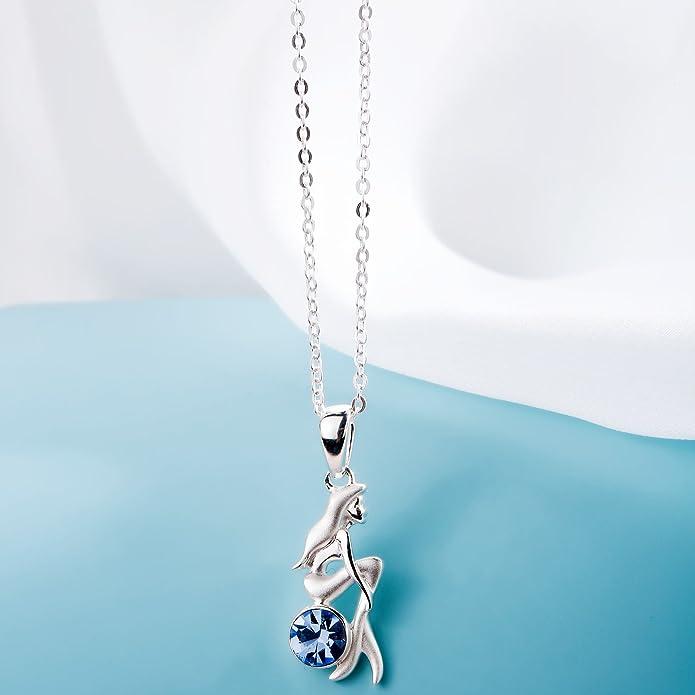 SILVERAGE 925 Sterling Silver Blue Cubic Zirconia Mermaid Pendant Necklace for Women zuax1OsLak