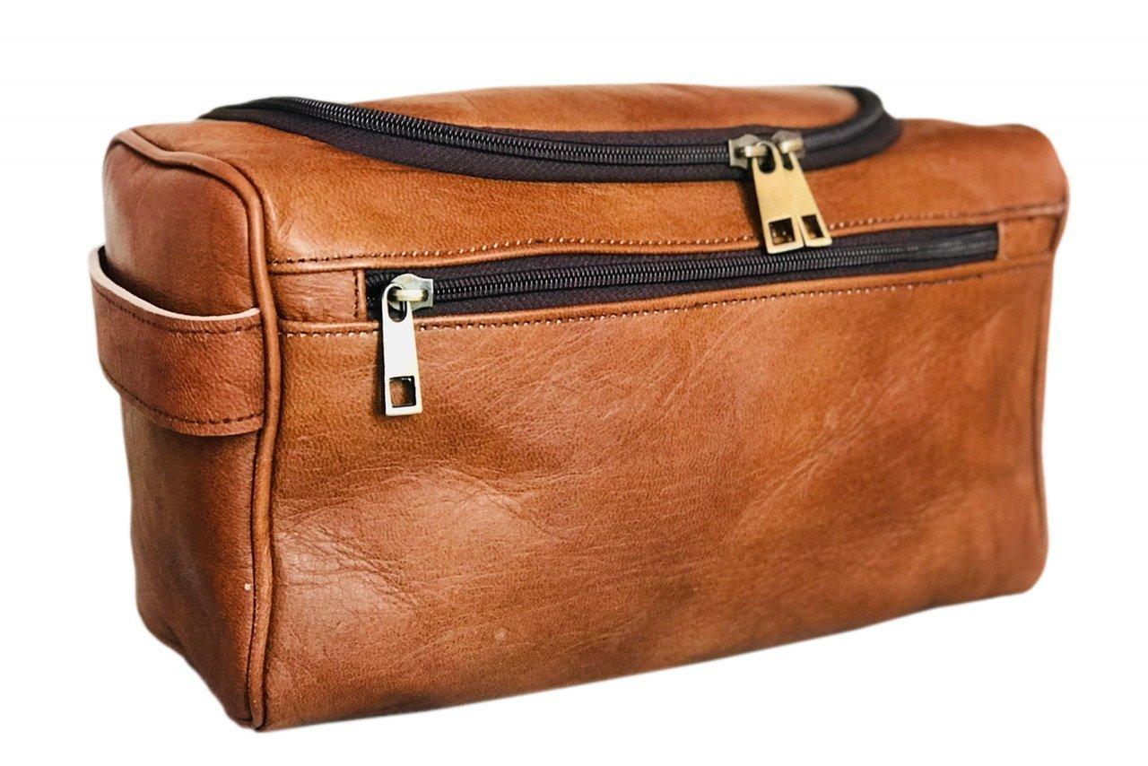 Leather Toiletry Bag Travel Toiletry Organizer Portable Hanging Makeup Bag Dopp Kit & Shaving Cosmetic Bag for Men Women (Brown)