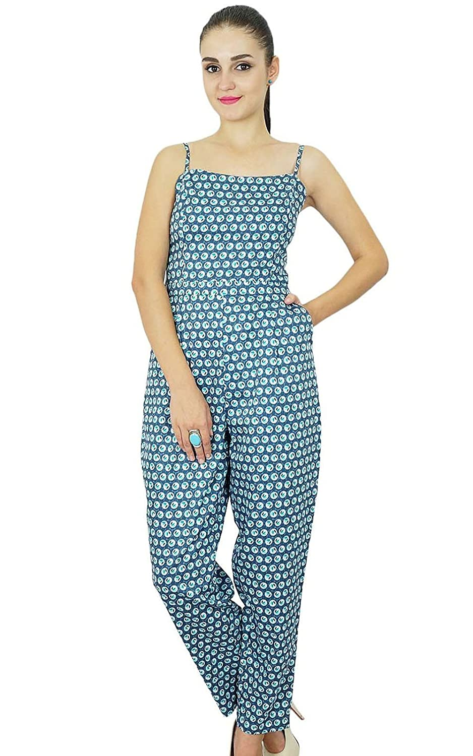 Bimba Womens Casual Full Length Jumpsuits Dress Printed Rayon