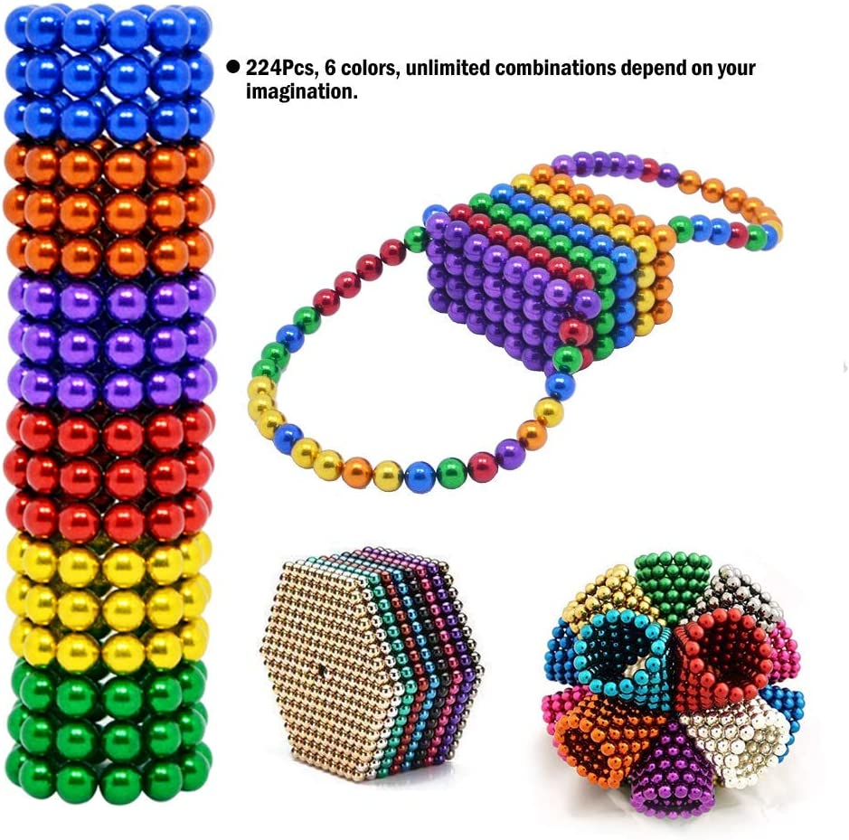 8 Colors MENGDUO 5MM 224pcs Magnets Sculpture Building Blocks Toys for Sculpture Stress Relief Magnet Intelligence Development Office Toy for Adults