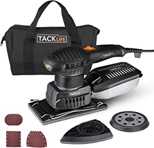 TACKLIFE 3 in 1 Electric Sander, Multifunction Sander with 15 Pcs Sandpapers, Orbital/Detail/Sheet Sander with Efficient Dust Collection System, 6 Variable Speed Power Sander Machine, DIY - MDS01B