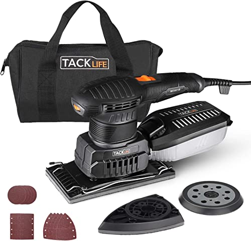 TACKLIFE 3 in 1 Electric Sander, Multifunction Sander with 15 Pcs Sandpapers, Orbital Detail Sheet Sander with Efficient Dust Collection System, 6 Variable Speed Power Sander Machine, DIY – MDS01B