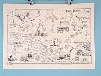 Isle Of Wight Shipwrecks Map  Scroll Amazoncouk Kitchen  Home