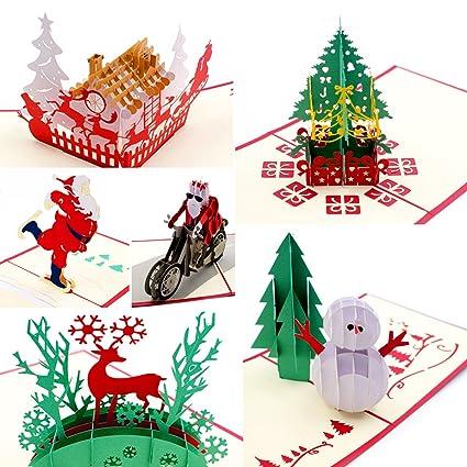 Tarjetas navideñas en 3D, tarjetas de felicitación de seis ...