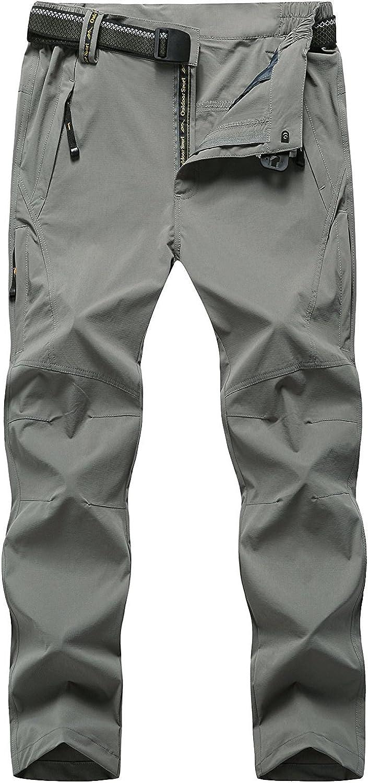 TBMPOY Men's Outdoor Quick-Dry Lightweight Waterproof Hiking Mountain Pants with Belt