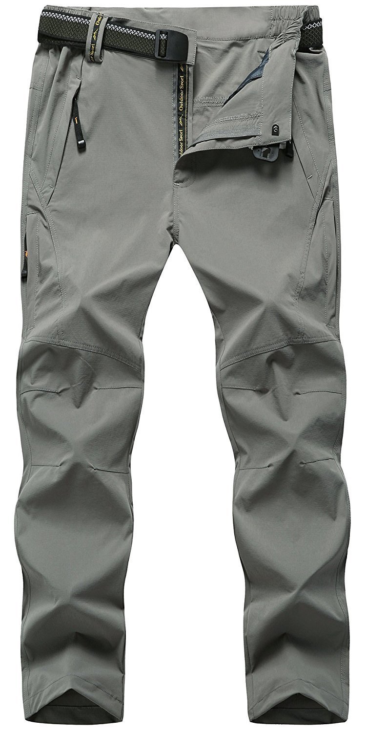 TBMPOY Men's Outdoor Lightweight Windproof Belted Quick-Dry Hiking Pants(03thin Light Grey,us M) by TBMPOY
