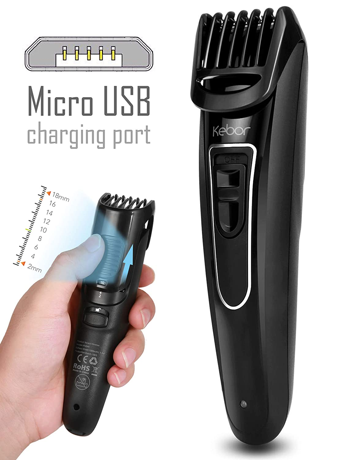 Beard Trimmer for Men, Kebor Hair Grooming Kit Cordless with 9 Length Precision Settings, All-in-one Guard, Comb Lock, Men's Rechargeable via Micro USB Body Groomer 1000mAh HT4040