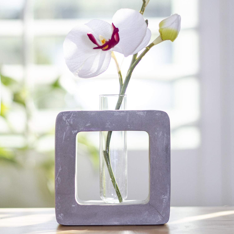 Frank Lloyd Wright Design Inspired Polished Concrete Organic Element Basic Shape Glass Vase Tube Flower Bud Vase Home Decorative Accent Wedding Centerpiece Hotel Office Home Decor (Small Square)