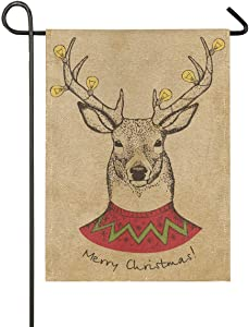 Garden Flag 12x18 Inch Merry Christmas Deer Retro Double-Sided Banner for House Home Outdoor Party Decor