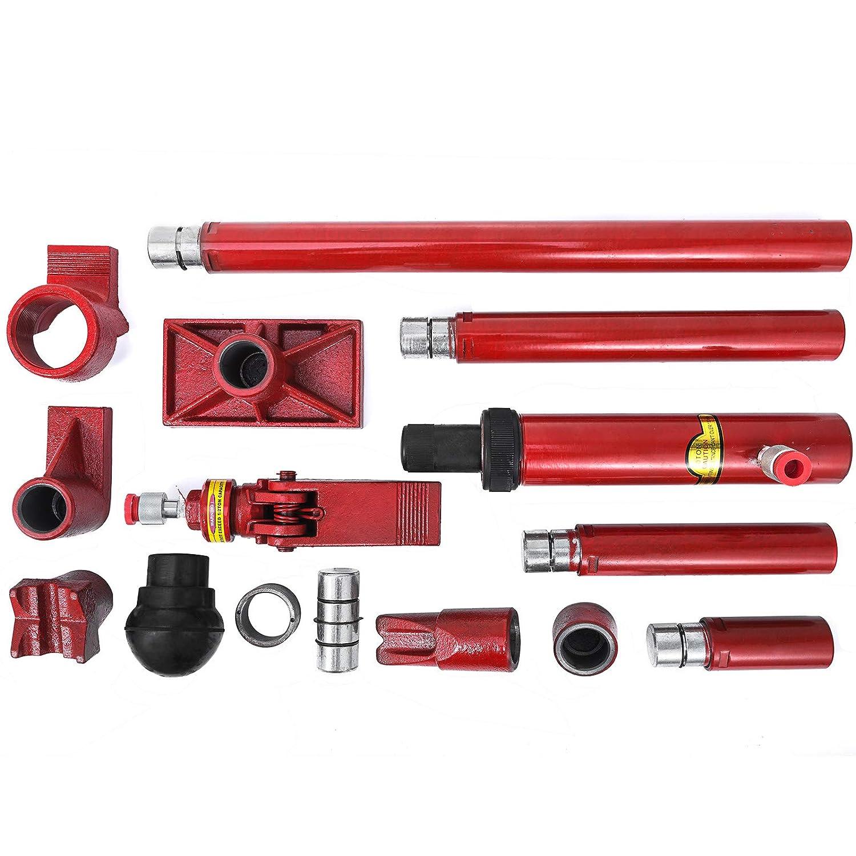 Succebuy 10T Pompe Hydraulique Manuelle/2m Pompe /à Main Hydraulique Manuelle/avec Bo/îte /à Outils /à la Main socle en V /à 90/°Hydraulique Cric 10T