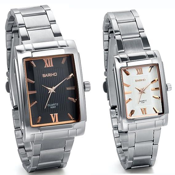 Amazon Com Jewelrywe Fashion 2pcs Lovers Couple Steel Casual Square