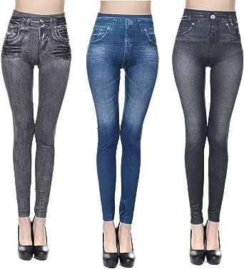 JFAN Pantalones Vaqueros con Estampado de Mezclilla para Mujer Pantalones Elásticos