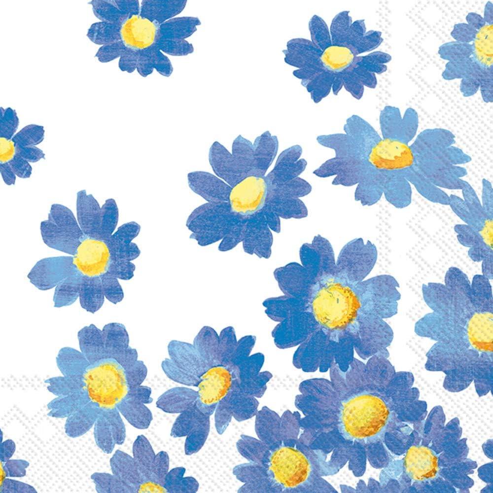 Boston International IHR 3-Ply Cocktail Beverage Paper Napkins, 5 x 5-Inches, Agnetha Blue