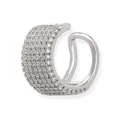 56d72576b Amazon.com: Sterling Silver Micro Pave CZ Single Ear Cuff Earrings: Jewelry