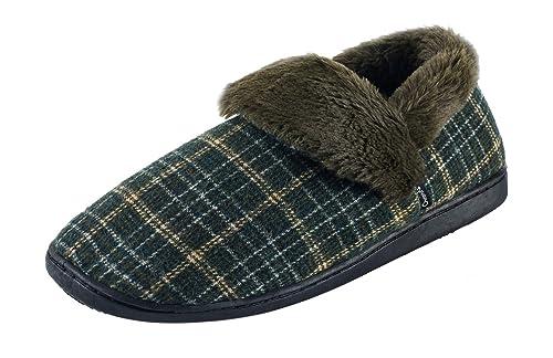 Ommda Zapatillas de Estar por Casa de Hombre Invierno Plaid Lana Forro de Felpa Zapatillas Casa Memory Foam: Amazon.es: Zapatos y complementos