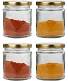 Pure Source India Small Glass jar Set of 4 pcs Coming with Metal Golden Color Air Tight and Rust Proof Cap, Capacity 50 Gram About Made in India