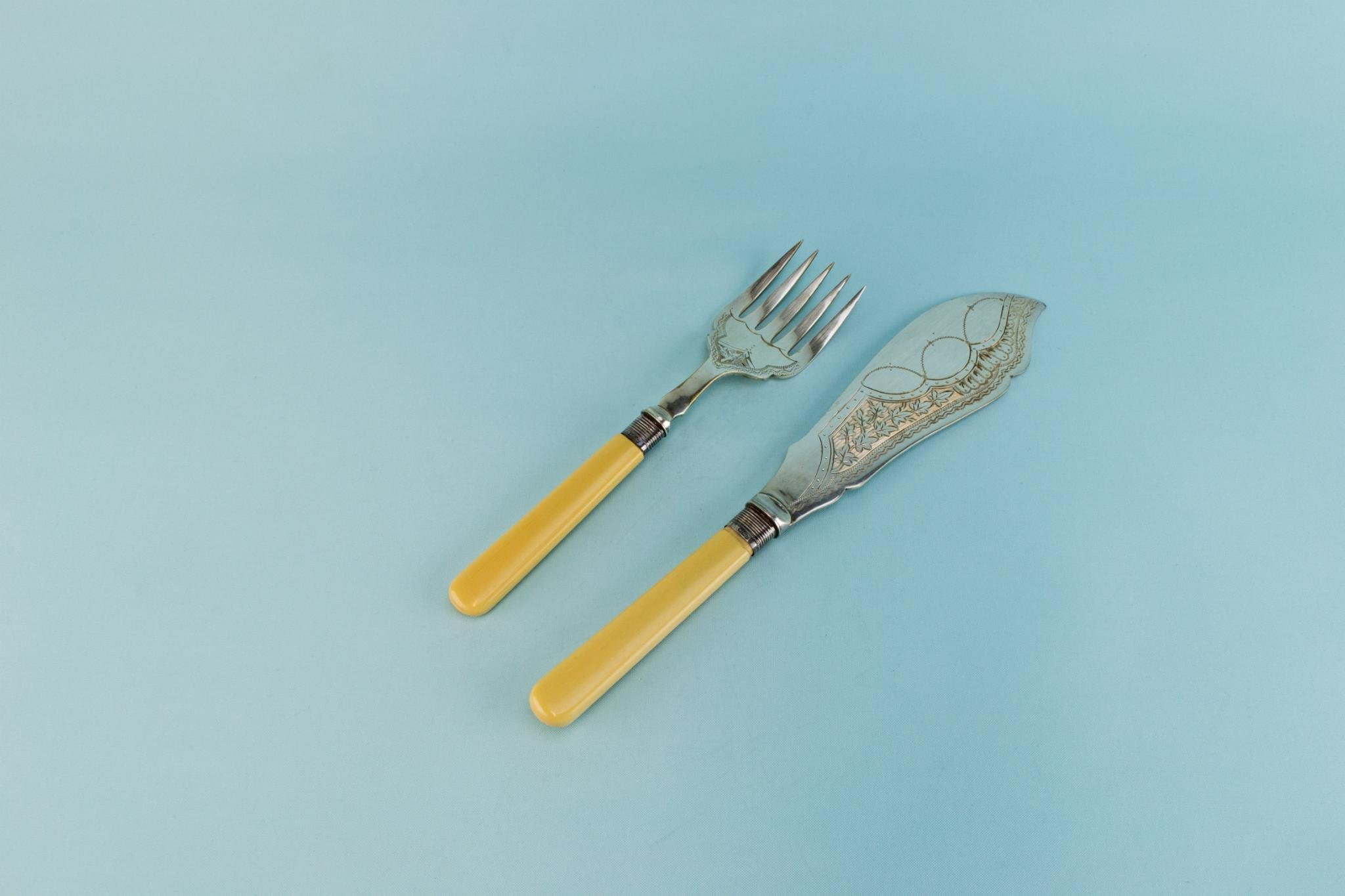 1892 Serving Large Knife Spoon Set Silver Plated Sterling Collar Antique English Victorian