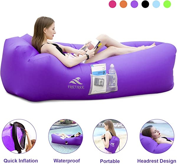 FRETREE Inflatable Lounger Air Sofa Hammock - Portable Anti-Air Leaking & Waterproof Pouch Couch and Beach Chair Camping