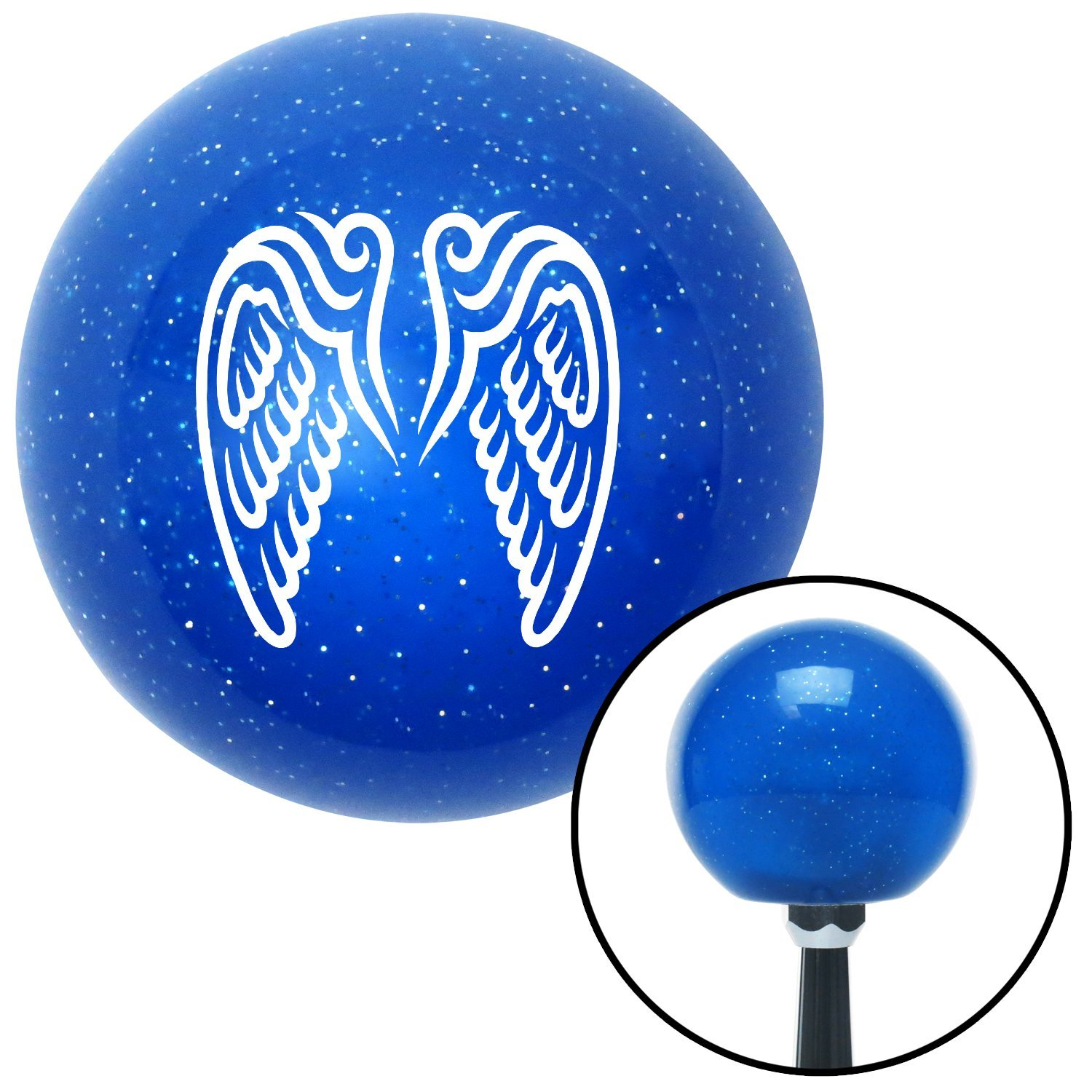 White Wings Conjoined in Lure American Shifter 23882 Blue Metal Flake Shift Knob