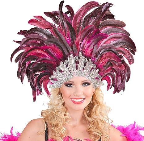 Samba Haarschmuck Kopfschmuck mit Pfauenfedern Bunt Haarband Karneval in Rio