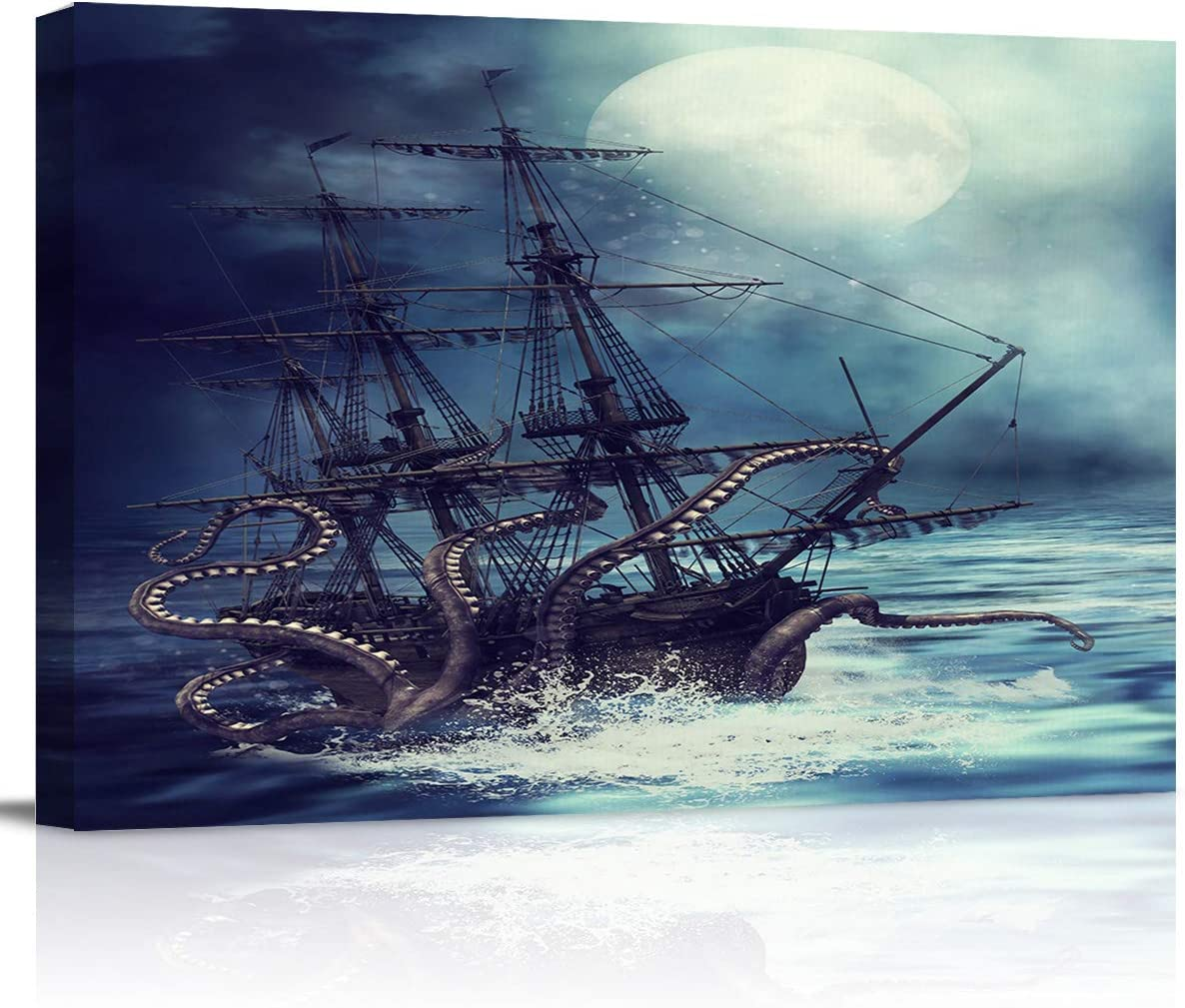 T&H XHome Room Decor for Bedroom Kitchen Bathroom Painting Wall Art Print Poster Moon Night Octopus Sink Ship Canvas Art Home Office Apartment Decor for Men Teens Kids Boys 12x16 Framed