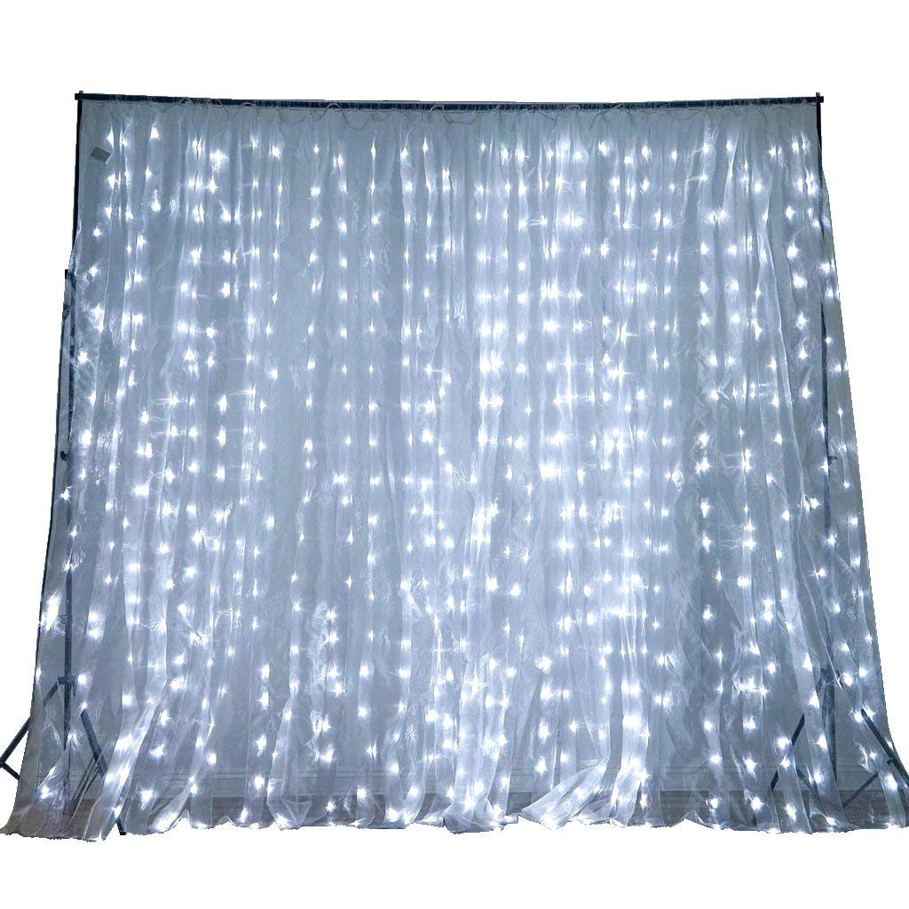 Efavormart 20 ft x 10 ft LED Lights Organza Backdrop Curtain Photography Background Organza Fabric Photo Studio Background - White by Efavormart.com