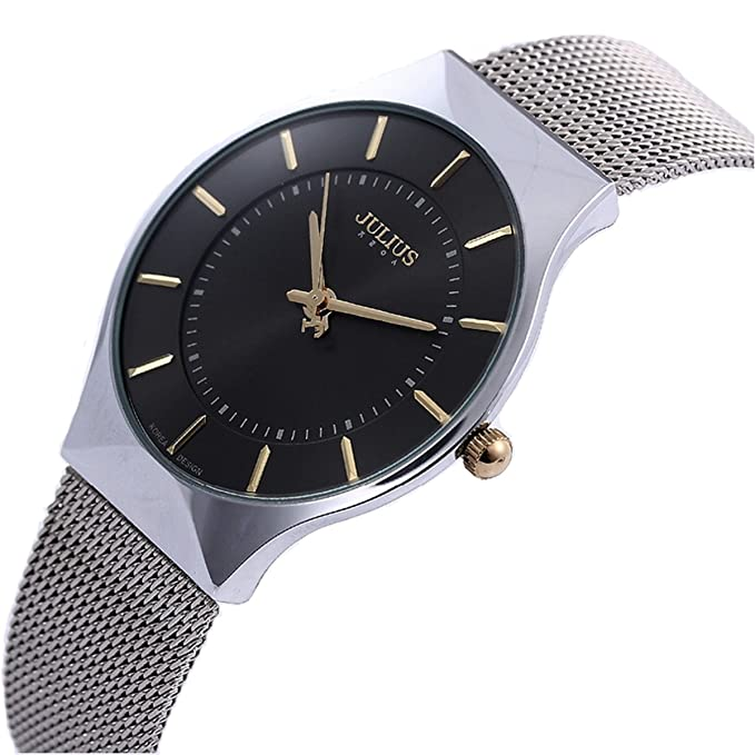 Amazon.com: JULIUS Mens Black Dial Mesh Stainless Ultra Thin Stylish Quartz Watch Fashion Elegant Wristwatch: Korea design: Watches