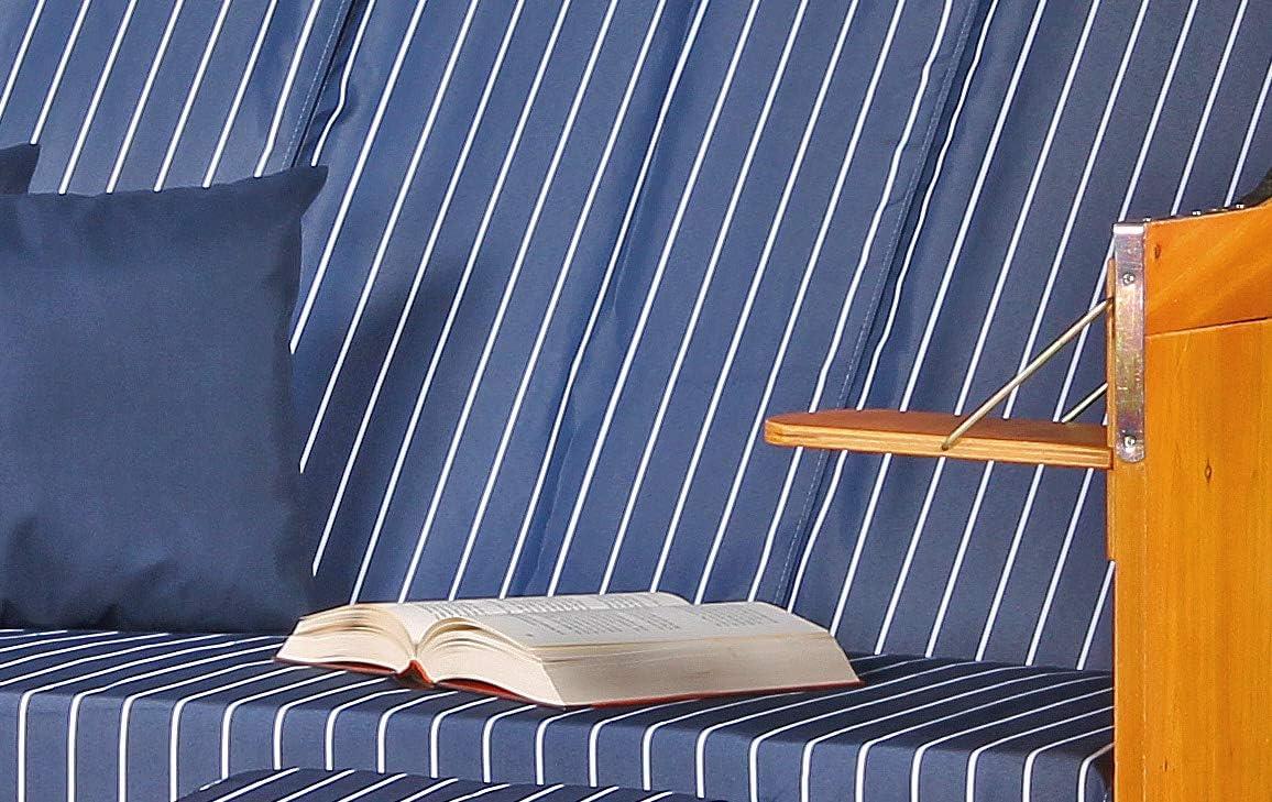 Playa Mar Báltico XXL volllieger silla de playa Tumbona de jardín tumbona tres plazas PE trenzado blanco Dessin Royal Azul Incluye 6 Cojín – Playa Cestas de madera dura y Polirratán para