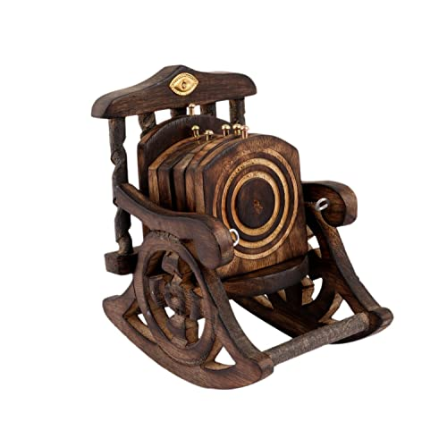 Saarthi Wooden Antique Beautiful Miniature Rocking Chair Design Tea Coffee Coaster Set