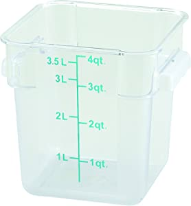 Winco Square Storage Container, 4-Quart,Clear