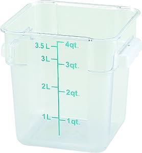 Winco Square Storage Container, 4-Quart,Clear