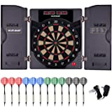 WIN.MAX Electronic Soft Tip Dartboard Set with Cabinet, 12 Darts LED Display