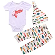 CANDYEEMMA Daddy's Fishing Buddy Baby Boy Clothes Newborn Romper Long Pants Hat 3Pcs Outfit Sets (Keeper), 0-6m(Tag70)