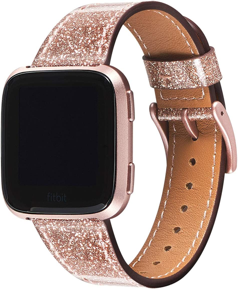 WFEAGL for Versa Band, Top Grain Leather Band Replacement Strap for Versa Fitness Smart Watch (Glistening Rose Gold Band+Rose Gold Buckle)