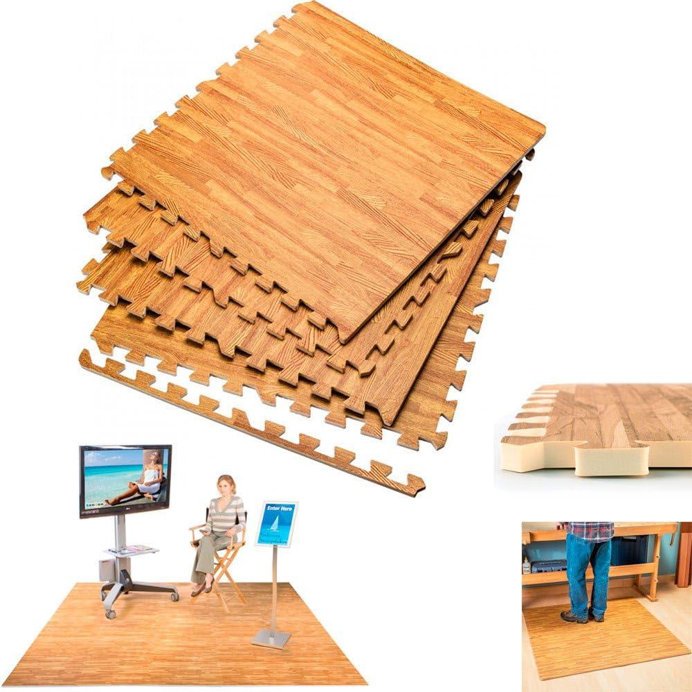 16 Sq Ft EVA Foam Exercise Floor Interlocking Mat Show Floor Gym Garage Mat Wood