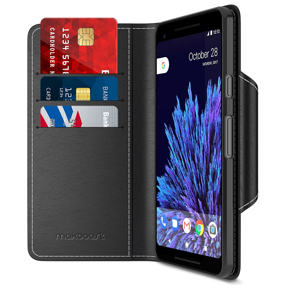 Maxboost Google Pixel 2 XL Wallet Case, [Folio Style] Premium Google Pixel 2 XL Card Cases Stand Feature [Black] Protective PU Leather Flip Cover with Card Slot + Side Pocket Magnetic for Pixel 2 XL