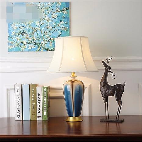 KAI Schlafzimmer Nachttischlampe Wohnzimmer Voll Kupfer Lampe Europäischen  Studie Lampe Einfache Moderne Keramik Schlafzimmer, Türkis