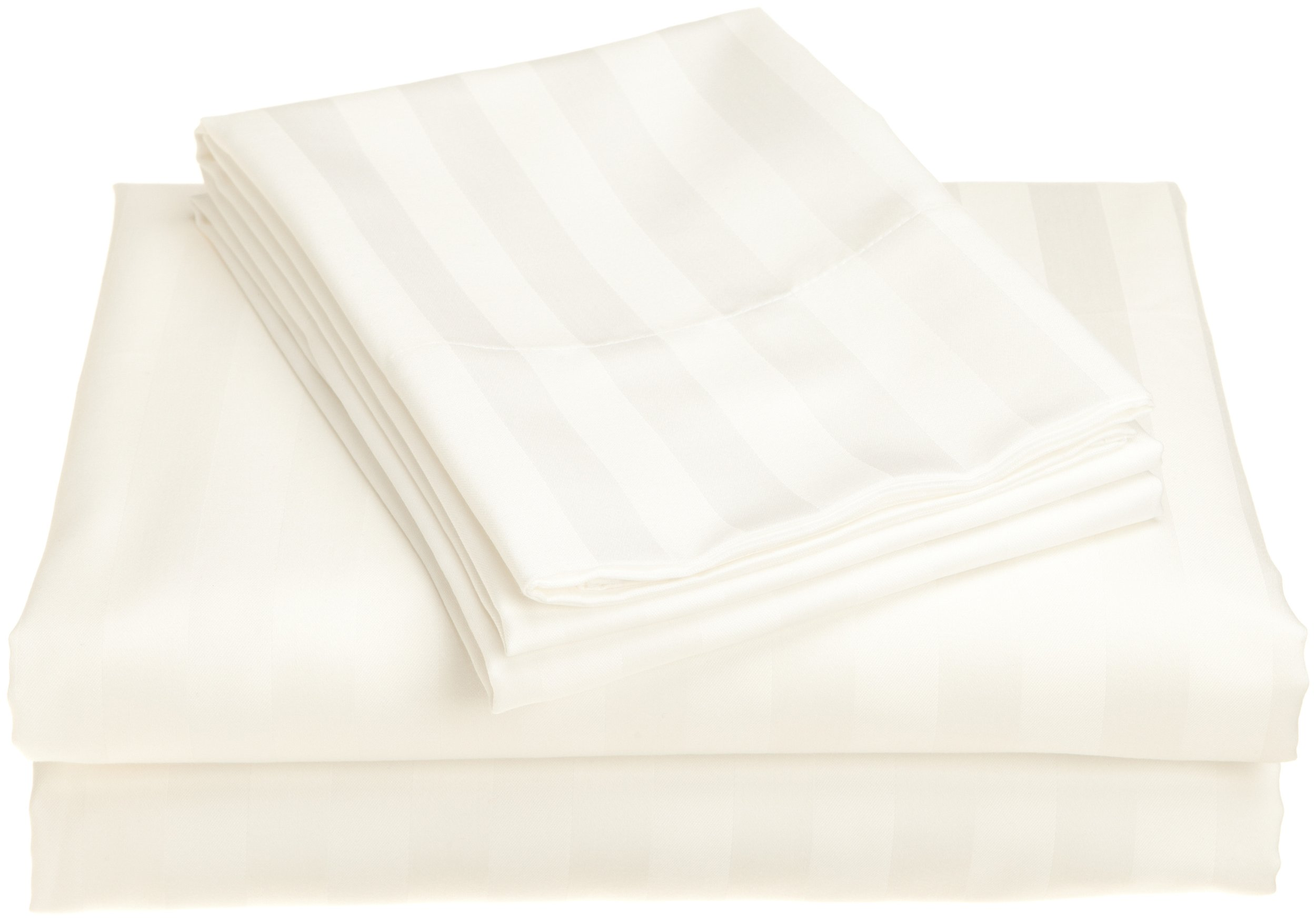 Peacock Alley Luxury Linens Duet II 400-Thread-Count 100-Percent Egyptian Cotton Queen Flat Sheet, White