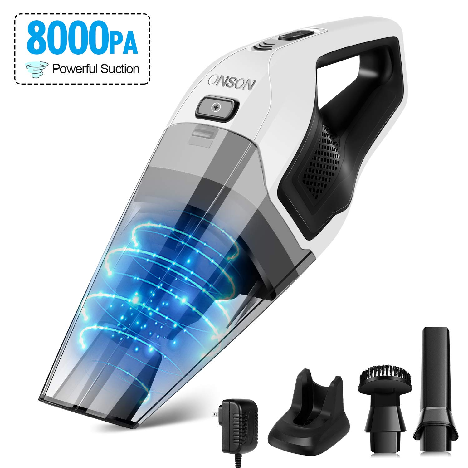 Handheld Vacuum Cordless, ONSON Hand Vacuum with Rechargeable Quick Charge, Lightweight Mini Hand Vac Portable Hand Held Vacuum Cordless for Home, Kitchen, Car Wet Dry Cleaning