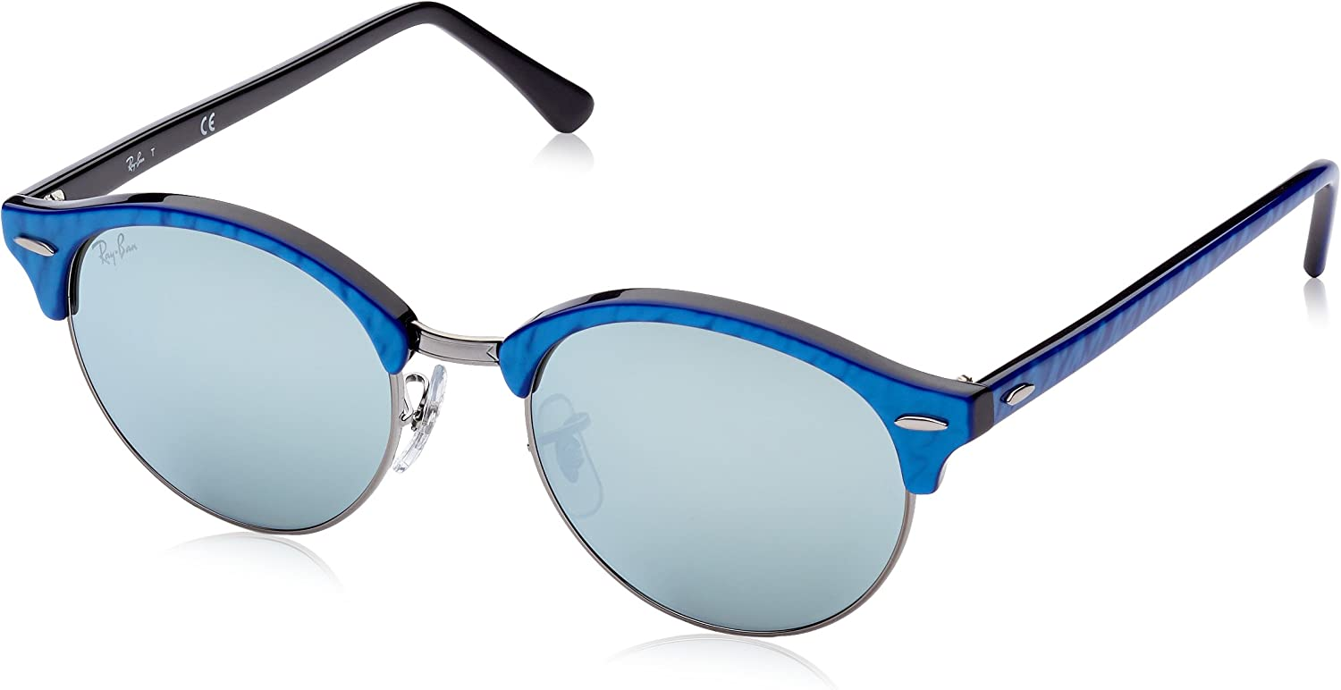 RAY-BAN 984/30 Gafas de sol, Top Wrinkled Blu On Black, 51 Unisex-Adulto